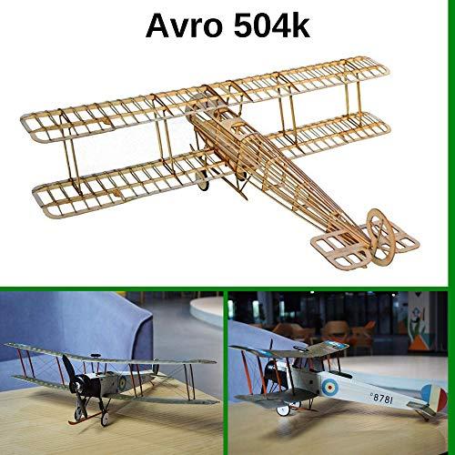 Avro 504k Slow Flyer KIT, 505 mm spanwijdte, schaal 1/20, zelf te bouwen modelvliegtuig, balsa-houtkit, RC-vliegtuig modelset, 385 x 505 x 152 mm, lasergesneden, 65,7 g vlieggewicht