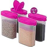 LEOFANS Gewürzdosen Schüttdosen Vorratsdosen Set 0,25L für die Küche aus BPA Frei Kunststoff (4er Set, Pink)