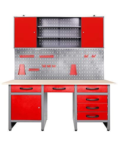 Ondis24 Werkstatteinrichtung rot Werkstatt Werkbank Werkzeugschrank Lochwand Metall + LED