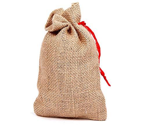 Alsino Mini Jutesäckchen Jutesack klein | perfekt zum basteln, Größe: 19 cm x 13 cm | Adventskalender Säckchen Sack mit rotem Bändchen zum zuziehen, hochwertiger Jute Stoff | JS-02