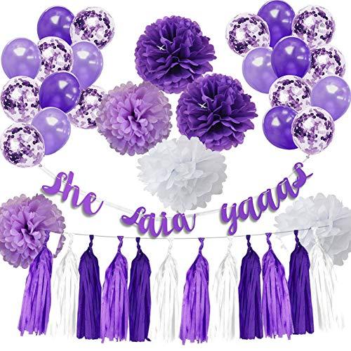 Purple Bridal Shower Decorations Purple Lavender Confetti Ballons She Said Yaaas Banner Tisssue Pom Pom Paper Tassels Purple/Lavender Bachelorette Party Supplies