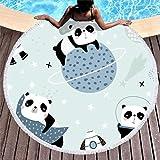 Toalla de playa grande, redonda, con diseño de oso panda, de microfibra, toalla de playa, toalla de playa, alfombra de pared, esterilla de yoga, manta de picnic, manta de playa 150 cm azul