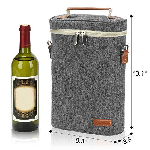 2ボトルの断熱ワイントートバッグ、ショルダーストラップとコルク抜きのワインキャリアトラベルパッド入りクーラーバッグ、パーフェクトワイン愛好家のギフト、ピクニックやアウトドアエンターテインメントに最適またはウェディングギフトグレー