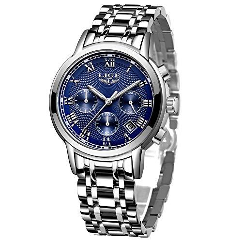 Uhren Herren, LIGE Wasserdicht Sport Business Edelstahl Chronograph Analog Quarzuhr Männer, Blau