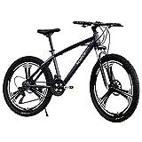 26' High-Carbon Steel Mountain Bike 21 Speed Bicycle Full Suspension MTB Folding Shock Bike with Six-Cutter Wheel (Black)