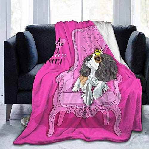 AEMAPE Throw Blanket,Cavalier King Charles Spaniel Puppy Princess Crown Pink Armchair Bedrooms Dormitories Soft Warm Blanket 127X102CM