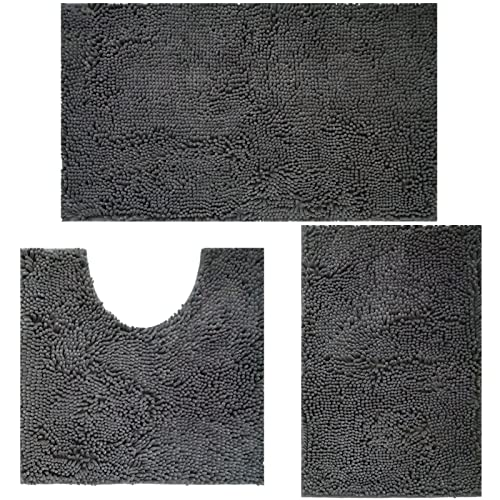 HEURYTEP Bathroom Rugs and Mats Sets Chenille Bath Rugs for Bathroom Non-Slip Bath Mats Machine Washable Ultra Water Absorbent Bathroom Carpet...