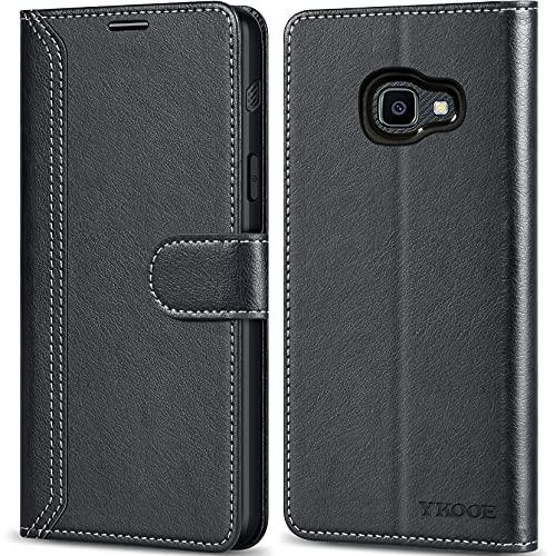 ykooe Hülle für Samsung Galaxy Xcover 4/4s, Hochwertig PU Leder Tasche Handyhülle für Samsung Galaxy Xcover 4/4s Schutzhülle, Schwarz