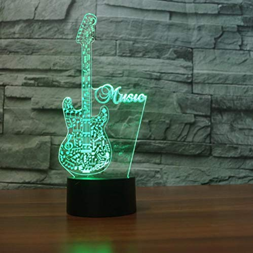 SFALHX New Guitar 3D LED Night Light Desk lamp Home Room Decoration Musical Instruments Remote 7 Color Change Best Child Gift