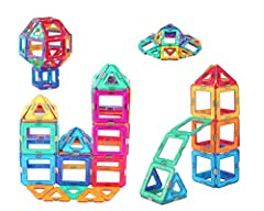 [What is Included] Total 42 pieces, including 24 square and 18 triangles pieces in a box with lower price. Compatible with other similar-size tiles, [Great Toys for Kids] The magnetic building blocks could encourage kids for creativity, brain develop...