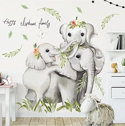 Dibujos Animados Safari Jugle 3 Elefantes Pegatinas De Pared Familiares Para Bebé Guardería Niños Habitación Pared Calcomanías Pvc Dormitorio Decoración Del Hogar Pegatinas De Pvc
