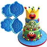 Anyana 4pcs set Sesame Street Oscar Ernie Elmo Monster fondant plunger Cookie Cutter biscuit decorating stamp stamper impression Sugarcraft Cake Decoration pastry pie crust mold