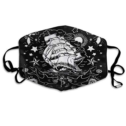 Máscara antiatardecer para barco, tatuaje de tiburón, color negro y blanco, máscara de boca reabastecible, pasamontañas para hombres y mujeres