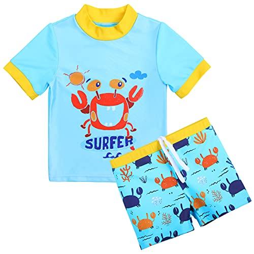 XFGIRLS Costume da bagno a maniche corte con protezione UV, 2 pezzi, per ragazzi o ragazze, da 0 mesi a 6 anni Granchio blu 0-6 Mesi