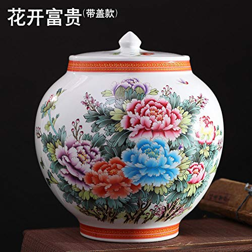 Jingdezhen ceramiche antiche Centinaia di Quadri Vaso Grande Composizione Floreale Stile Cinese Soggiorno Decorazione della casa Artigianato Ornamenti-Fiore Aperto Ricco barilotto Grande (con coperc