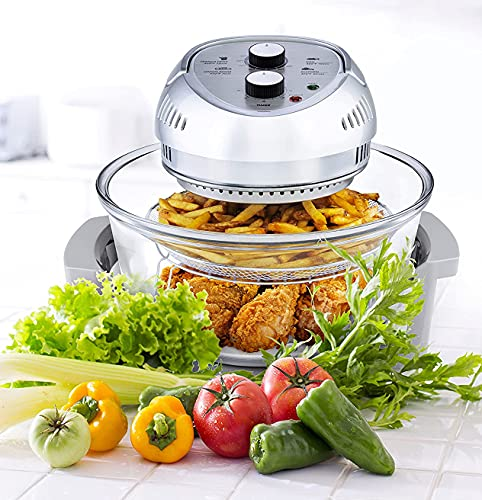 Big Boss Oil-less Air Fryer, 16 Quart, 1300W, Easy Operation with Built in Timer, Dishwasher Safe, Includes 50+ Recipe Book - Silver