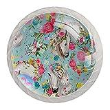 Perillas de manija de puerta para gabinetes y cajones Flor de caballo flamenco Manijas de cristal 4 piezas