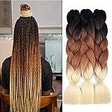 Ombre Braiding Hair Kanekalon Synthetic Braiding Hair Extensions 3pcs/lot 24inch Jumbo Braiding Hair (Pack of 3, Black-Brown-Blonde)