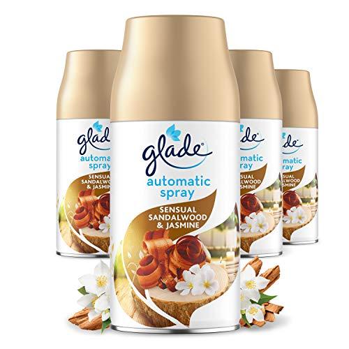 Glade Automatic Air Freshener Spray, Auto Spray Odour Eliminator & Room Fragrance, 4 Refills, Sandalwood & Jasmine, 269ml