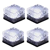 Solar Glass Brick Light,Ice Cube Lights,LED Landscape Light Buried Light Square Cube,Frosted Glass Light for Christmas Outdoor Path Road Yard 4 pcs (Cold White)
