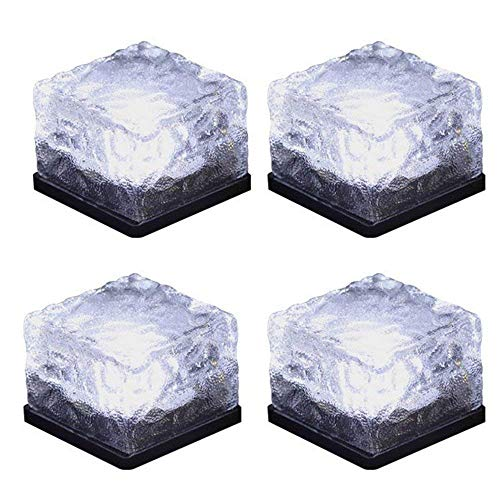 Solar Glass Brick Light,Ice Cube Lights,LED Landscape Light Buried Light Square Cube,Frosted Glass Light