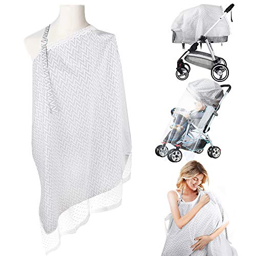 Nursing Cover Breastfeeding, Large Baby Breastfeeding Cover Ups with Mesh Gauze Soft Breathable Cotton Breath Feeding Covers for Mother Nursing Apron, Babies, Breastfeeding