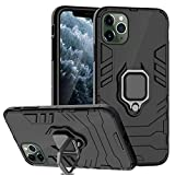 Ferilinso Case for iPhone 11 Pro Max Cases, Stylish Dual Layer Hard PC Back Case with Ring Grip Kickstand & Support Magnetic Car Mount Function Cover for iPhone 11 Pro Max Case (Black)