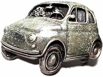 artigianale Hebilla para cinturón de 4 cm, Fiat 500, esmalte gris, color plateado antiguo, hebillas de metal o piedras o estrás o esmaltes o cristales muranos + 1 llavero cc1