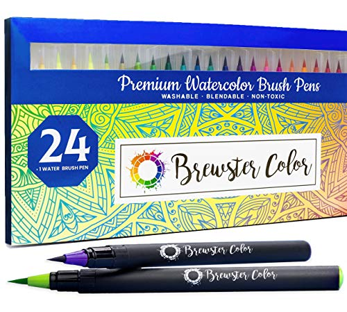Watercolor Brush Pens by Brewster Color- Easy to Use Flexible Nylon Brush Tip Calligraphy Pens- 24...