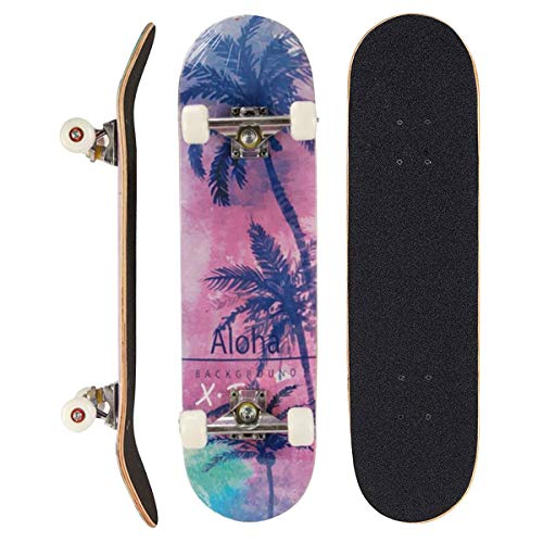 Sumeber Skateboard Adult Tricks Skate Board for Beginner, Birthday Gift Skateboards for Teens Girls Boys Adults (Coconut Tree)