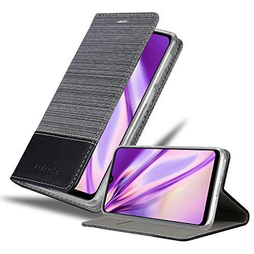Cadorabo Hülle für Xiaomi Mi A3 in GRAU SCHWARZ - Handyhülle mit Magnetverschluss, Standfunktion & Kartenfach - Hülle Cover Schutzhülle Etui Tasche Book Klapp Style