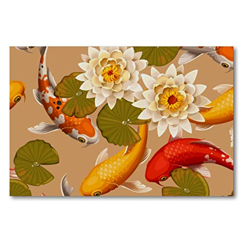 Wall Art Oil Painting Koi Carp Fish in Lotus Pond on Canvas Picture Poster with Frame for Kitchen Bedroom Home Decor Modern Classic Artwork 50x75cm