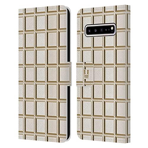 Head Case Designs Tableta Blanca Achocolatado Carcasa de Cuero Tipo Libro Compatible con Samsung Galaxy S10 5G