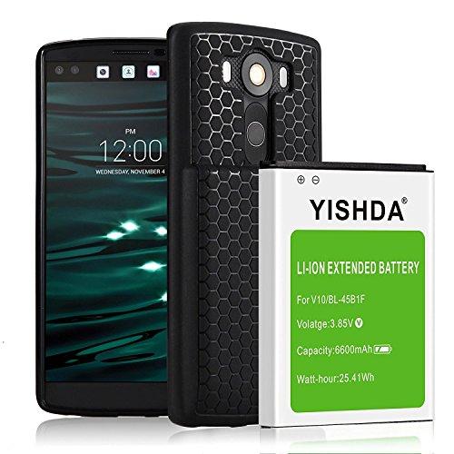 yishda LG V10batería ampliada [6600mAh] batería de repuesto para LG V10h960a H900H901VS990ls992con tapa trasera y funda protectora | LG bl-45b1F batería para V10[18meses de garantía]