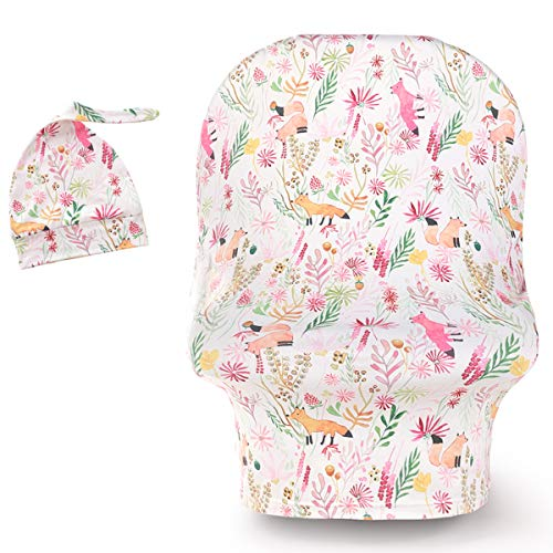 Stretchy Car Seat Cover with Hat Nursing Cover Breastfeeding Cover Ups Soft Breathable Carseat Canopy for Baby Boy Girl with Cute Beanie Animals