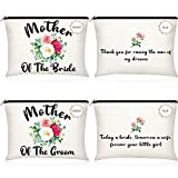 2 Pieces Mother of Bride Cosmetic Bags Mother of Groom Makeup Bags Wedding Favors Floral Cosmetic Bags Bridal Engagement Canvas Pouches Makeup Mother Pouches for Mother in Law Brides Mom, 2 Styles