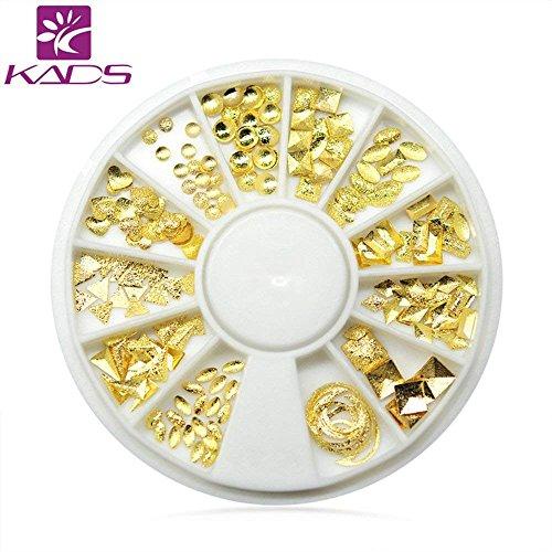 Kads 12 Motif Hot mixte Forme métallique Or rose Argent Forested Série en alliage Rivet clous DIY Nail Art Gems Strass