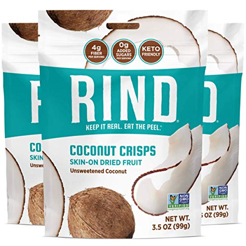 RIND Snacks Unsweetened Coconut Crisps, Keto Friendly, Paleo, Whole 30 Compliant, Skin On Dried Fruit Chips, High Fiber, 3.5oz Pack of 3