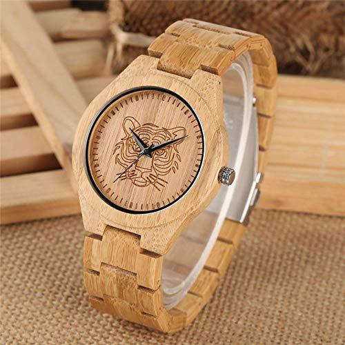 IOMLOP Reloj de Madera Reloj de bambú de Madera Completo Reloj de Cuarzo analógico con Cabeza de Tigre Tallado en Madera Completa Relojes de Pareja Unisex