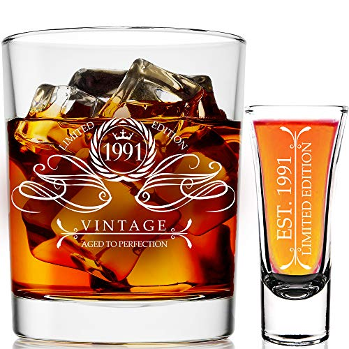 1991 30th Birthday Gifts For Men & Women 9 oz Whiskey Glass and 2 oz Shot Glass, 30th Birthday Decorations for Men, Funny Present Ideas for Her, Wife, Mom, Coworker, Best Friend, Anniversary Man Guys