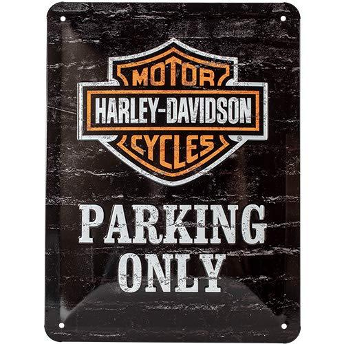Nostalgic-Art Harley-Davidson – Parking Only – Geschenk-Idee für Motorrad-Fans, Retro Blechschild, aus Metall, Vintage-Dekoration, 15 x 20 cm