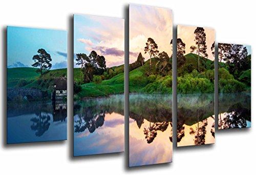 Poster Fotográfico Paisaje Natural, Casa Junto a Lago , Bosque Reflejo Agua Tamaño total: 165 x 62 cm XXL