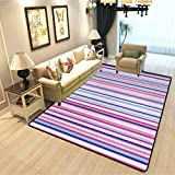 Abstract Family Room Carpet Decoration Vertical Striped Gradient Different Colored Lines Tile Bands Image Soft Indoor Large Modern Area Rugs Baby Pink Fuchsia Sky Blue W3xL5 Feet