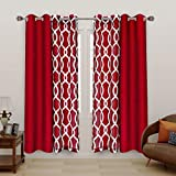 LORDTEX Mix and Match Curtain - 2 Pieces Moroccan Print Sheer Curtains and 2 Pieces Faux Dupioni Silk Curtains for Bedroom Living Room Grommet Window Curtains Set of 4 Panels (27x84/Panel, Burgundy)