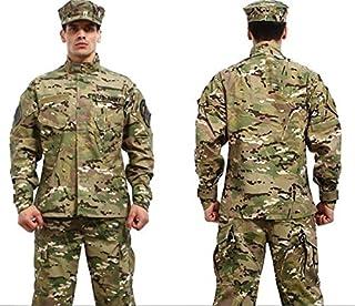 Conjunto de uniforme militar, camuflado, de combate, chamarra + pantalón cargo de camuflaje, ropa de caza, traje militar táctico de combate militar de tipo, uniforme de campaña
