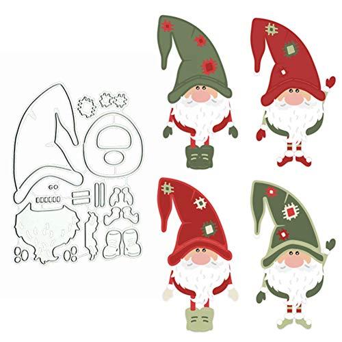 litty089 - Fustella per ritagli, motivo Babbo Natale, stencil per fai da te, album di ritagli, biglietti di carta, Colore unico, Argento