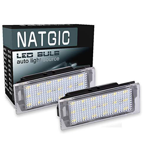 NATGIC 1 Paire LED Plaque d'immatriculation Lumière 18 SMD 3528 puces Intégrées Can-Bus étanche Numéro LED Plaque d'immatriculation Lampe Assemblée 12V 2W - 6000K Blanc