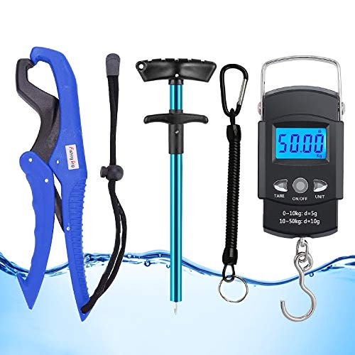 GRANDBUY Handheld Digital Fish Scale 99lb/45kg with Built-in Tape Measure 39Feet Floating Fish Gripper Fishing Lanyard Fish Hook Remover Combo Kit