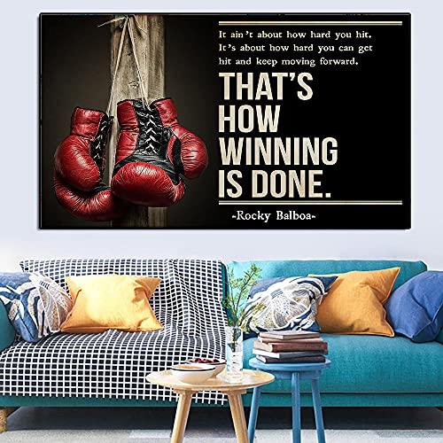 ZLARGEW Rock Boxing Motivation Vintage Poster Impresiones en Lienzo Pintura Deportes Guantes de Boxeo Arte de la Pared Imagen estética para Gym Docor / 60x90cm Sin Marco