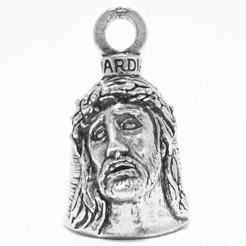 Guardian Christ Crown of Thorns and Holy Cross Motorcycle Biker Luck Gremlin Riding Bell or Key Ring